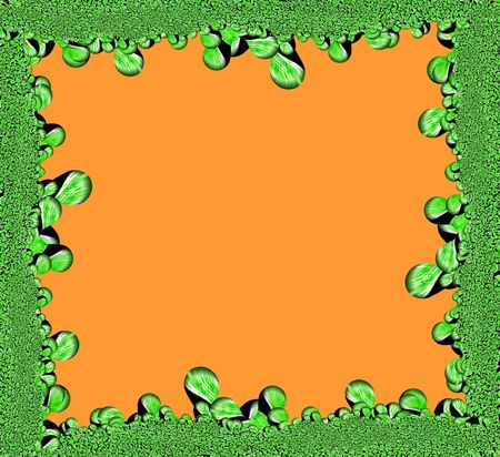 Abstract green frame and orange background. Stock Photo - 2052685