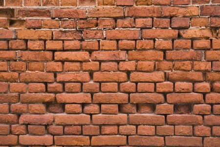 Brick wall. An old bricklaying (the beginning-middle of XX century)