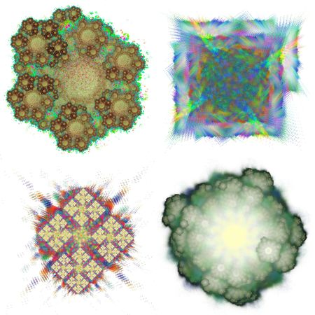 sharpen: Four abstract fractal structures. Swirl space. Dotted, blurred, sharpen. Multi colored.