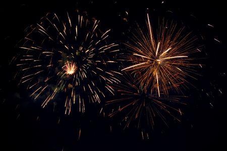 Good pink-yellow fireworks. Stock Photo - 3220831