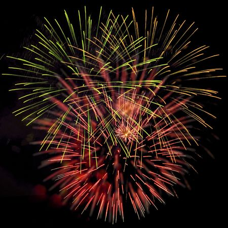 Good pink-yellow-green fireworks. Stock Photo - 3220834