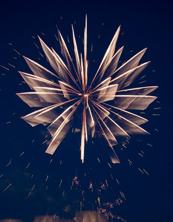 Good pink-yellow fireworks. Motion blur. Stock Photo - 3220832