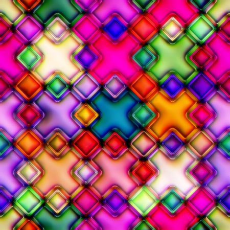 Colourful mosaic from crosses. Disco style. Seamless. Good for replicate photo