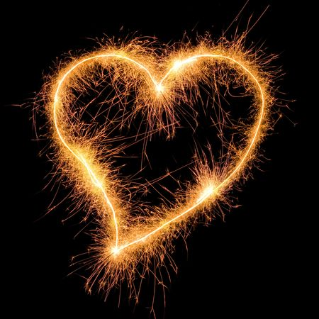 heart burn: Sparkler heat heart. Good design element for wedding, Saint Valentine card, etc. Very big size.