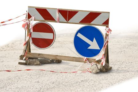 Traffic sign. The detour pointer. Red ribbons. A rough wooden frame. photo