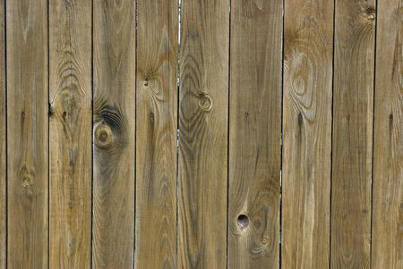 Wood with knots. A new fence. It is processed against rotting.