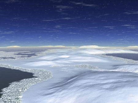 The night sky. Snowdrifts on seacoast. An illustration Stock Illustration - 3839746
