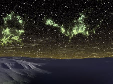 snowdrifts: The night sky. Dark snowdrifts. An illustration