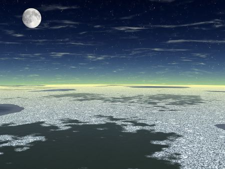 The dark sky (with Moon). Ocean. Dark water and white ice floes on a surface. Stock Photo - 3857986