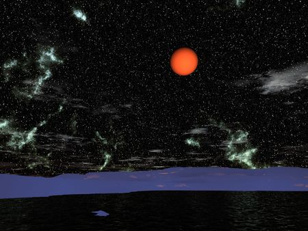 The red moon in another's sky. Below black water and dark blue snow. Stock Photo - 3857989