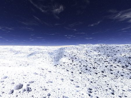 Deserted landscape. Snow, with set of small craters from meteorites. The dark sky with stars Stock Photo - 3857988