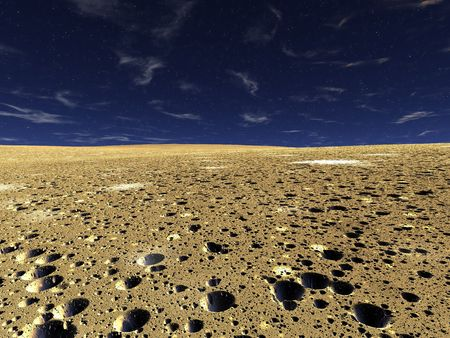 Deserted landscape. The sandy soil is completely covered by small(little) craters from meteorites Stock Photo - 3857994