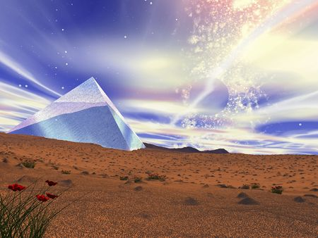 Fantastic landscape. A crystal pyramid in the middle of desert. Some flowers of a poppy Stock Photo - 3857993