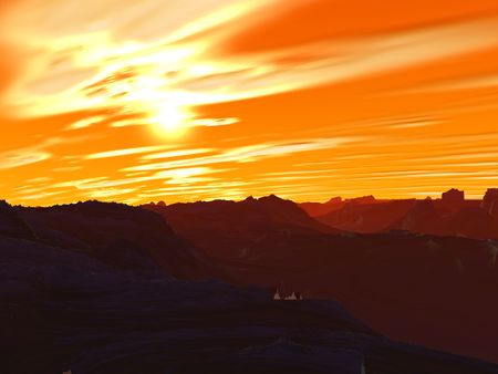 Another galaxy. Abstract red planet. Computer generated. Sunset Stock Photo - 3925478