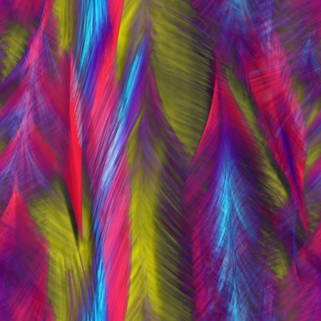 Seamless. Abstract bright feathers of birds. Best for replicate. Computer generated. Stock Photo