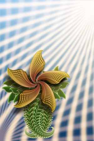 Fractal (with micro detal) flower illustration. Good for card design. Stock Illustration - 4373425