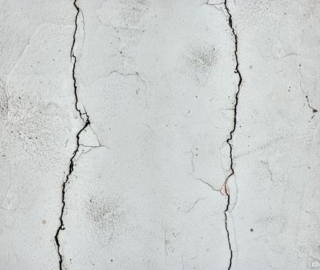 Danaged wall. Two long cracks. Design elements. Stock Photo