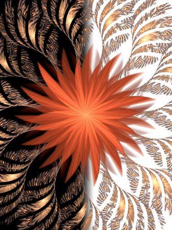 Black and white background. Ogange flower fractal . Good design (card or poster)