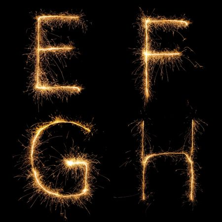 burning alphabet: Alphabet sparkler (see other letters in my portfolio). All  uppercase characters.