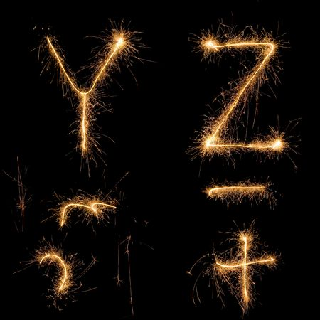 Alphabet sparkler (see other letters in my portfolio). All  uppercase characters. Plus (as bonus) some sparkles and curves.
