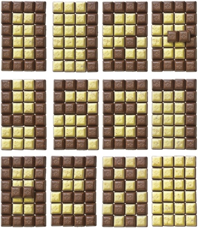 From two-color chocolate generate all 10 digits. photo