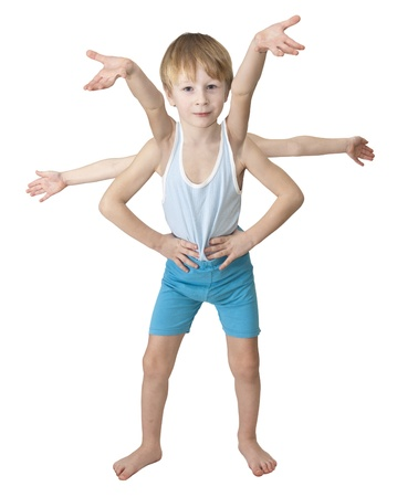 spider man: Young Spiderman smiles. Many hands are ready to do a lot of work and play. Stock Photo