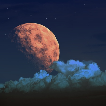 Large moon in the night sky. Clouds and stars above them. Stock Photo - 10981249