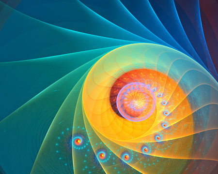 digital illustration: Abstract rainbow, blue and yellow spiral background fractal with fine microstructure Stock Photo