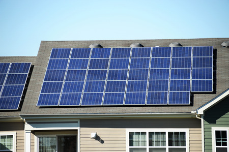 solar roof: solar panel on the roof Stock Photo