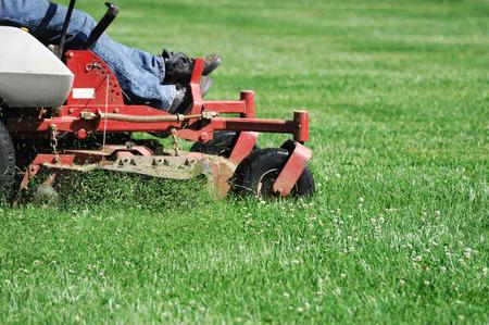 잔디를 깎고