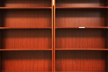 empty bookshelf background Banco de Imagens