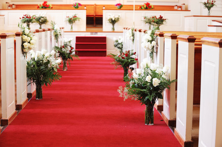 red carpet in church for wedding ceremony Stock Photo