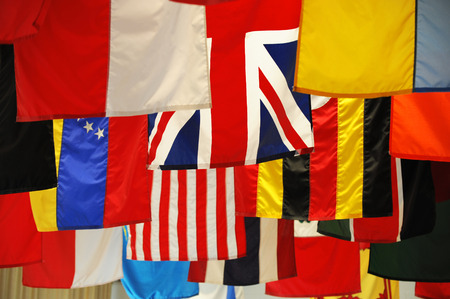 nations: hanging flags of multi nations