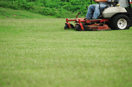 mowing the lawn Stok Fotoğraf