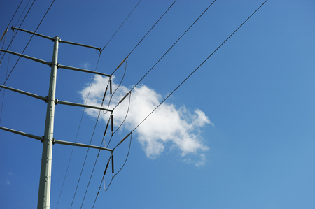 electric grid: power tower Stock Photo