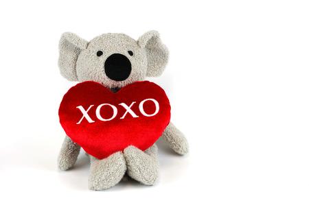 xoxo: cute koala with red heart xoxo