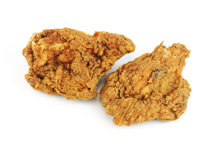 fried chicken on white background Stock Photo