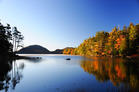 colorful water surface: autumn colorful forest reflecting in tranquil lake in the morning