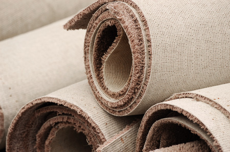 stacking carpet rolls 免版税图像
