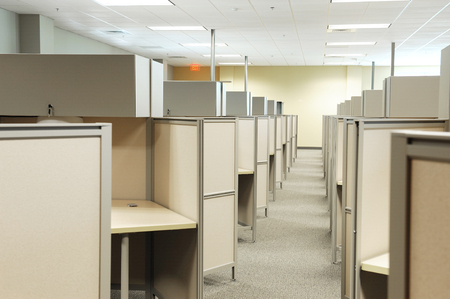 office cubicle: empty cubicles inside office building, place of work