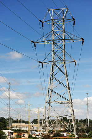power tower: high voltage power tower in residential area Stock Photo