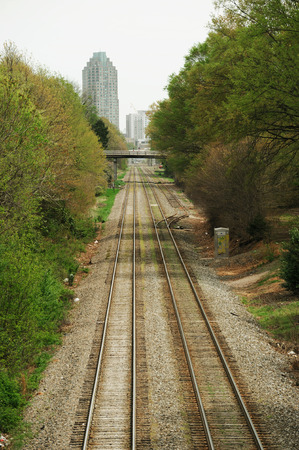 expanding: rail way tracks expanding to Raleigh downtown Stock Photo
