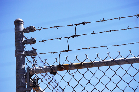 barbed wire and fence: barbed wire fence Stock Photo