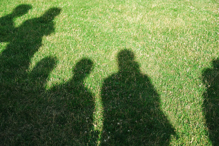 people shadow: people�s shadow on green grass background Stock Photo