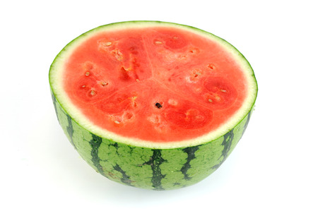 seedless watermelon cut in half on white background