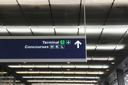 directional: directional sign guide in airport