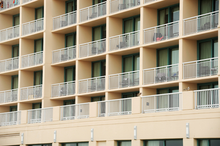 hotel building: balconies outside hotel building Stock Photo