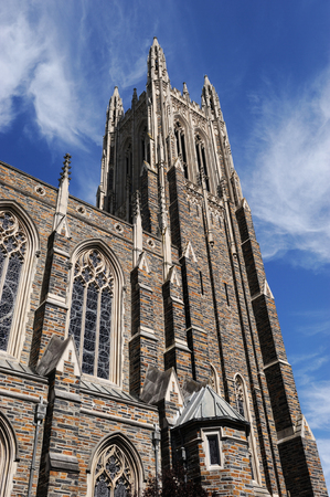duke: low angle view on the church tower in Duke University Stock Photo