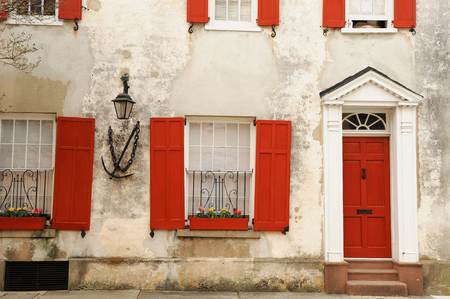 front house: front view of ancient house in Charleston city