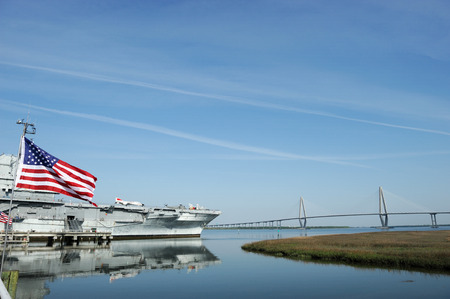 inactive: old aircraft carrier of world war two in Charleston near Charleston bridge Stock Photo